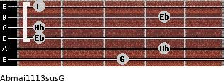 Abmaj11/13sus/G for guitar on frets 3, 4, 1, 1, 4, 1