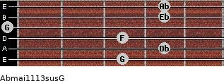 Abmaj11/13sus/G for guitar on frets 3, 4, 3, 0, 4, 4