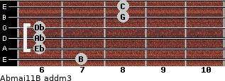 Abmaj11/B add(m3) guitar chord