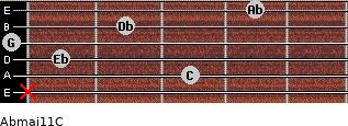 Abmaj11/C for guitar on frets x, 3, 1, 0, 2, 4