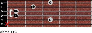 Abmaj11/C for guitar on frets x, 3, 1, 1, 2, 3