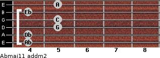 Abmaj11 add(m2) for guitar on frets 4, 4, 5, 5, 4, 5