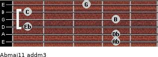 Abmaj11 add(m3) for guitar on frets 4, 4, 1, 4, 1, 3