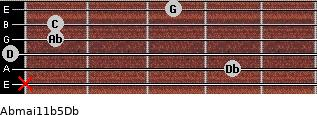 Abmaj11b5/Db for guitar on frets x, 4, 0, 1, 1, 3