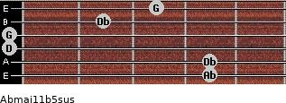 Abmaj11b5sus for guitar on frets 4, 4, 0, 0, 2, 3