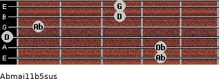Abmaj11b5sus for guitar on frets 4, 4, 0, 1, 3, 3