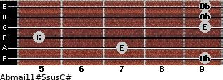 Abmaj11#5sus/C# for guitar on frets 9, 7, 5, 9, 9, 9