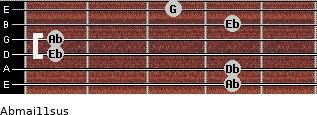 Abmaj11sus for guitar on frets 4, 4, 1, 1, 4, 3
