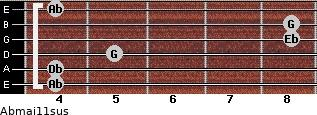 Abmaj11sus for guitar on frets 4, 4, 5, 8, 8, 4