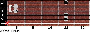 Abmaj11sus for guitar on frets x, 11, 11, 8, 8, 11