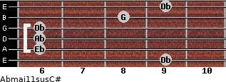 Abmaj11sus/C# for guitar on frets 9, 6, 6, 6, 8, 9