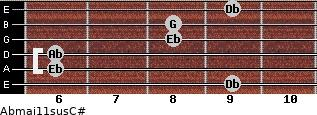 Abmaj11sus/C# for guitar on frets 9, 6, 6, 8, 8, 9