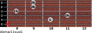 Abmaj11sus/G for guitar on frets x, 10, 11, 8, 9, 9