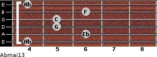 Abmaj13 for guitar on frets 4, 6, 5, 5, 6, 4