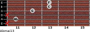 Abmaj13 for guitar on frets x, 11, x, 12, 13, 13
