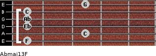 Abmaj13/F for guitar on frets 1, 3, 1, 1, 1, 3