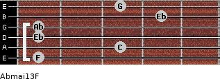 Abmaj13/F for guitar on frets 1, 3, 1, 1, 4, 3