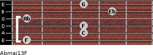 Abmaj13/F for guitar on frets 1, 3, 3, 1, 4, 3