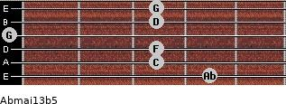 Abmaj13b5 for guitar on frets 4, 3, 3, 0, 3, 3