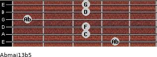 Abmaj13b5 for guitar on frets 4, 3, 3, 1, 3, 3