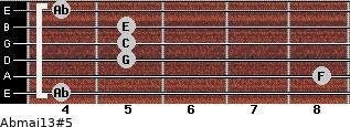 Abmaj13#5 for guitar on frets 4, 8, 5, 5, 5, 4