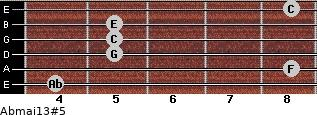 Abmaj13#5 for guitar on frets 4, 8, 5, 5, 5, 8