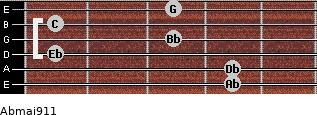 Abmaj9/11 for guitar on frets 4, 4, 1, 3, 1, 3