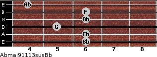 Abmaj9/11/13sus/Bb for guitar on frets 6, 6, 5, 6, 6, 4