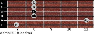 Abmaj9/11/B add(m3) guitar chord