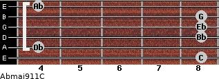 Abmaj9/11/C for guitar on frets 8, 4, 8, 8, 8, 4