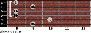 Abmaj9/11/C# for guitar on frets 9, 10, 8, 8, 9, 8