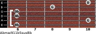 Abmaj9/11b5sus/Bb for guitar on frets 6, 10, 6, 6, 8, 10