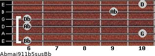 Abmaj9/11b5sus/Bb for guitar on frets 6, 10, 6, 6, 9, 10