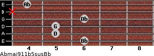 Abmaj9/11b5sus/Bb for guitar on frets 6, 5, 5, 6, x, 4