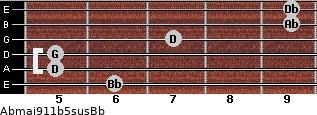 Abmaj9/11b5sus/Bb for guitar on frets 6, 5, 5, 7, 9, 9