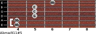 Abmaj9/11#5 for guitar on frets 4, 4, 5, 5, 5, 6