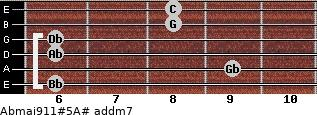 Abmaj9/11#5/A# add(m7) guitar chord