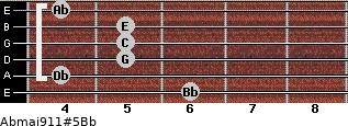 Abmaj9/11#5/Bb for guitar on frets 6, 4, 5, 5, 5, 4