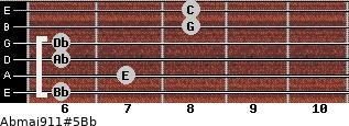 Abmaj9/11#5/Bb for guitar on frets 6, 7, 6, 6, 8, 8