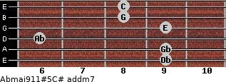 Abmaj9/11#5/C# add(m7) guitar chord
