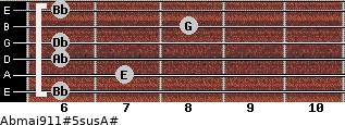 Abmaj9/11#5sus/A# for guitar on frets 6, 7, 6, 6, 8, 6