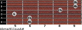 Abmaj9/11sus/A# for guitar on frets 6, 6, 5, 8, 9, 9