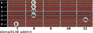 Abmaj9/13/B add(m3) guitar chord