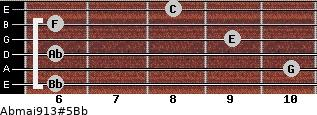 Abmaj9/13#5/Bb for guitar on frets 6, 10, 6, 9, 6, 8