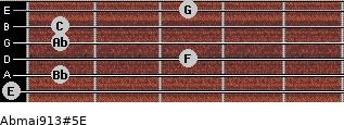 Abmaj9/13#5/E for guitar on frets 0, 1, 3, 1, 1, 3