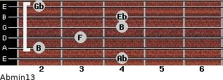 Abmin13 for guitar on frets 4, 2, 3, 4, 4, 2