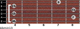 Abmin13 for guitar on frets 4, 8, 4, 8, 4, 7