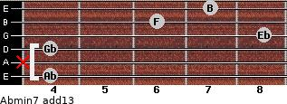 Abmin7(add13) for guitar on frets 4, x, 4, 8, 6, 7