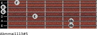 Abm(maj11/13)#5 for guitar on frets 4, 4, 2, 0, 0, 1