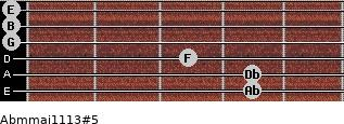 Abm(maj11/13)#5 for guitar on frets 4, 4, 3, 0, 0, 0